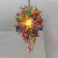 Art Deco Pendant Lamps Multi Colored Chain Chandelier 24X48 Inches 100% Hand Blown Murano Glass Chandeliers Home Store Coffee Shop Led Bulbs Light Fixtures