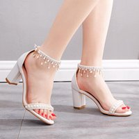 Dress Shoes Women Sandals Square Toe Buckle Summer Sexy Fashion Casual Wedding Crystal Preal Ankle Strap Bridal High Heels