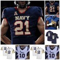 Пользовательские 2021 военно-морских сидений Футбол Джерси NCAA College Dalen Morris Jamale Mayles Mayles Falls Mark Walker Mychal Cooper Diego Fagot
