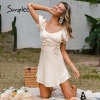 Simple Sólido Vintage Ruffle Vestido de Verão Mulheres Retro Slow Sleeve Casual Vestidos Slim Vestidos De Moda Arco A-Linha Coleira Quadrada