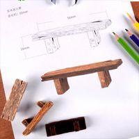 3 adet Sevimli Ahşap Sandalye Taburesi Peri Bahçe Minyatürleri Dekor Çift Tezgah Aksiyon Heykelcik DIY Mikro Gnome Teraryum Hediye C0220 1454 T2