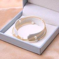 Baroqueonly 14k gold rempli à la main blanche blanche zoetwater w wear snares bracelet réglable bracelet de style vintage délicat hab
