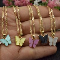 Acrylic Butterfly Necklaces For Women Birthday Gift Stainless Steel Chain Gold Choker Pendants Femme Wedding Jewelry Chains