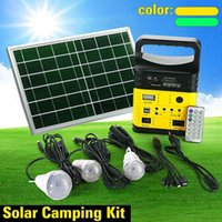 Solar Lamps Portable Generator Outdoor Camping Power Mini DC10W Panel Charging LED Lighting System Kit Remote Control Radio FM