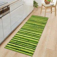Carpets Memory Foam Mat Green Plant Print 3D Carpet Long Door Mats Anti-Slip Kitchen Rug Microfiber Water Absorbent Bath Rugs