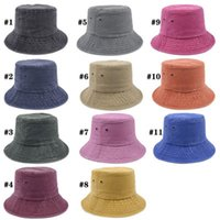 11 Colors Solid Color Bucket Hats Folding Fisherman Hat Sun Street Outdoor Sports Cap Q85