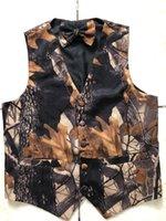 Camo imprimiu coletes noivo para o casamento Groomsmen trajes camuflagem fina fit homens coletes 2 pedaço conjunto (colete + gravata) personalizado feita plus size