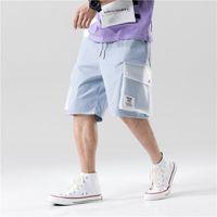 Pantaloncini da carico a due toni del blocchetto a colori di colore Streetwear 2020 Mens Harajuku Casual Tasche Casual Pantaloni da joggers Maschile