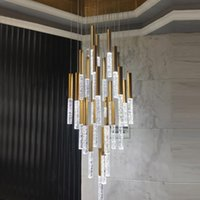 Chandeliers Luxury Staircase Chandelier Modern Led Cristal Light For Large Hallway Lobby Crystal Rod Lamps Gold Stair Lamp