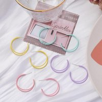 Simple Style Double Layer C Shaped Earrings For Women Girls Fashion Sweet Color Geometric Stud Ear Jewelry Party Gifts