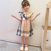 chicas diseñador princesa vestido verano niños verano plaid bowknot mosca manga vistes de fiesta niños algodón arco costura un vestido de línea B052