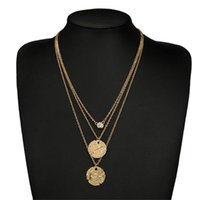 Boho Multi-layer Gold Chain Evil Eye&Arrow Pendant Necklace Women Charms Double Round Vintage Coin Jewelry Gifts Z4 Chokers