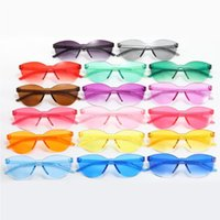 New candy cross-border sunglasses one-piece European frameless American net sun color fashion all-in-one women and red glass Jucfw