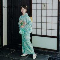 Freizeitkleider 2021 Sellworlder Retro Japanischer Kimono-Stil Yukata-Mädchen Mint Grünes Kleid Frau Lotus-Blatt-Druck lang mit Handtasche drucken