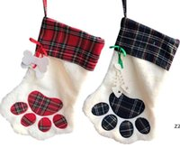 크리스마스 모노그램 애완 동물 개 고양이 발 선물 가방 격자 무늬 크리스마스 스타킹 크리스마스 트리 장식품 파티 장식 2 스타일 HWD8575