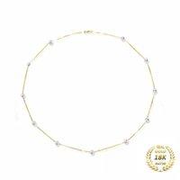 XF800 18K желтое золото натуральное пресноводное жемчужное ожерелье изысканные украшения свадебные подарок свадебные цепи XFX233