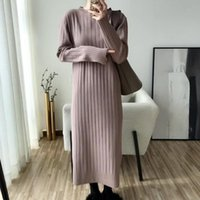 Casual Dresses 2021 Winter Sweater Dress Women Solid O-Neck Long Sleeve Straight Vestidos Texture Female Keep Warm Maxi