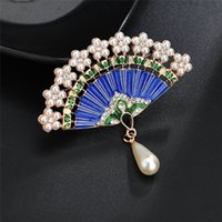 Chinese Style Fan Metal Jewelry Gifts Women Brooches for the New Year Gift Cloth Decoration HHE9515