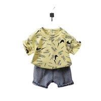 Tiktok 키즈 소년 반바지 두 조각 여름 복장 아기 유아 유아 디자이너 티셔츠와 짧은 청바지 데님 바지 Tracksuit 캐주얼 의류 Sport Suit G59IPG6
