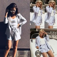 Women's Trainingsanzüge Hirigin Herbst 2 stücke Frauen Vintage gestreifte langarm Set Tops Shorts Outfit Office Damenjacke Mantelhose