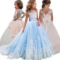 Flor meninas vestido para casamento crianças noite princesa festa concurso longo vestido crianças vestidos para meninas roupas formais 8 14 ano y200102