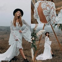 French Macrame Lace Wedding Gowns with Long Bell Sleeves 2021 V-neck Backless Bohemain Country Beach Hippie Bride Dresses