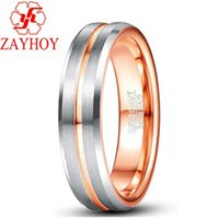 Ring 6mm tungsten steel men's and women's rose gold wedding ring silver groove two color