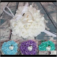 Other Event Festive Supplies Home & Gardenring Pillow Cushion Heart Shape Ring Box Simulation Rose Flowers Jewelry Case 1 Pcs Party Diy Decor