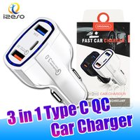Car Charger Type C QC3.0 Quick Charge Adapter 3 in 1 PD Fast Chargers for iPhone 13 Pro Max 12 11 with Retail Package izeso