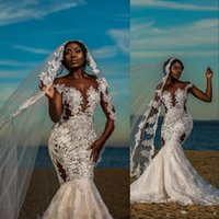 2021 African Mermaid Wedding Dresses Cap Sleeves Illusion Jewel Neck Lace Appliques Crystal Beads Sheer Champagne Sweep Train Dubai Vestidos Formal Bridal Gowns