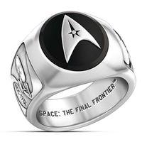 Anillo 2021 Clásico Color Sier Color Star Trek Aniversario Motocicleta Partido Personalidad StarShip Enterprise Hip Hop Jewelry