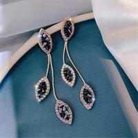 سحر الأزرق كريستال العين أقراط طويلة ورقة عشيق الكورية النساء الأزياء والمجوهرات
