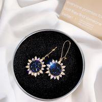 Applicable Beautiful Girl's Sky Blue Sun Flower Earrings Long Style Earrings Face Thin Net Red Earrings High Quality Diamond Jewelry