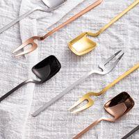 Творческий металлический золотой ложка настенные столовые приборы десерт и вилкового мороженого нержавеющей стали кофе