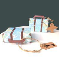 100pcs rétro Suitcase Box Candy Boîte De Voyage Porte-cadeaux Anniversary Noël Boîtes cadeaux Kraft Paper Airplane