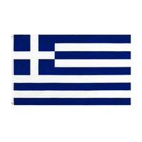 Hohe Qualität 90x150 cm Griechenland Flagge Polyester Druck 100% Durchdringende Doppelstiche Griechische Nationalflaggen 3x5 für Home Garten Dekor Feierndekoration