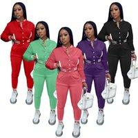 Fall winter Women baseball uniform two piece pants fashion jacket leggings 2XL cardigan capris long sleeve zipper neck sportswear clothing 6182