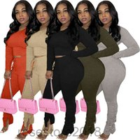 autumn and winter Women Designer Two Pieces Outfits Solid Colour Long Sleeve Top Pleated Trousers Ladies New Fashion Pants Set Yoga Sportwear Trac