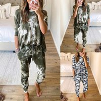 Women's Two Piece Pants Printed Tracksuit Set Women Spring Autumn Clothes Full Sleeve O-Neck Top And Leisure Suit Jogging Femme Ensemble