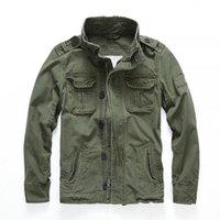 Talla europea hombres camuflaje chaquetas de combate retro bolsillo de bolsillo Denim Macket Outwear Abrigos del ejército Casual Casual algodón S-2x