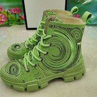 Женщины мода осень зима сосна торта нижние сапоги зеленые оранжевые белые шнурки удобно носить реальную кожаную медаль грубые нескользящие туфли