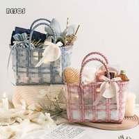 Fashion Refresh Candy Color Netting Woven Handbag Gift Box Party Wedding Gowns Perfume Lipsticks Package Decoration Wrap