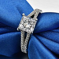 Wedding Rings 1.5ct Carat Square High Quality Sona CZ Engagement For Women S925 Silver Four-Claw Princess Female Jewelry