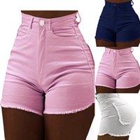 Plus Size Light Blue Squipped Cut Out Denim Shorts con nappa Donne Streetwear Streetwear High Vita Hollow Sexy Hole Jean femminile Donna