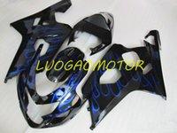Injecion Motorcycle Cowling Fairings kit for SUZUKI GSXR 600 750 GSXR600 GSXR-750 Bodywork 2004 2005 Fairing kits ABS Free Custom Gift 04 05 Black Flame Blue