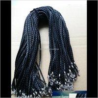 Cuerda de cierre de langosta de cuerda de cuero de PU negro M para la joyería del collar del colgante de la artesanía de DIY 20 22 24 S3jli QPCHX