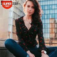 Mode Sommer Frauen Rüschen Chiffon Bluse Nähte Taille Womens Flora Cherry Print Tops V-Ausschnitt Blusen # 7A9X