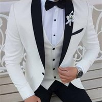 2019 Latest Coat Pant Designs White Men Suits Black Shawl Lapel Formal Tuxedos Wedding Suits For Men Prom Party Dress With Pants X0608