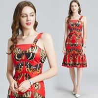 Merchall Designer Runway Spaghetti Dress Dress Dress 2021 Summer Women Surveless Butterfly Stampa BodyCon Mermaid Abiti Casual