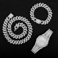 Pendant Necklaces Hip Hop Gold Color Necklace +Watch+Bracelet Miami Curb Cuban Chain Iced Out Paved Rhinestones CZ Bling Rapper For Men Jewe